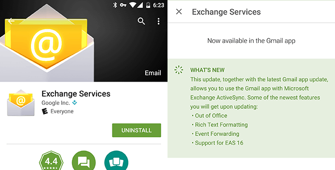Gmail exchange has been release or updated