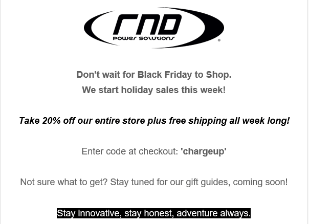 RND Accessories are going all Black Friday on us! Crazy sales!! 1