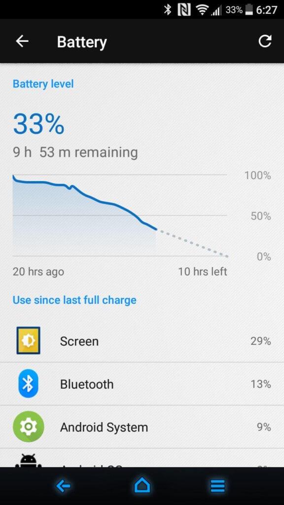 Sony Xperia XA1 battery performance