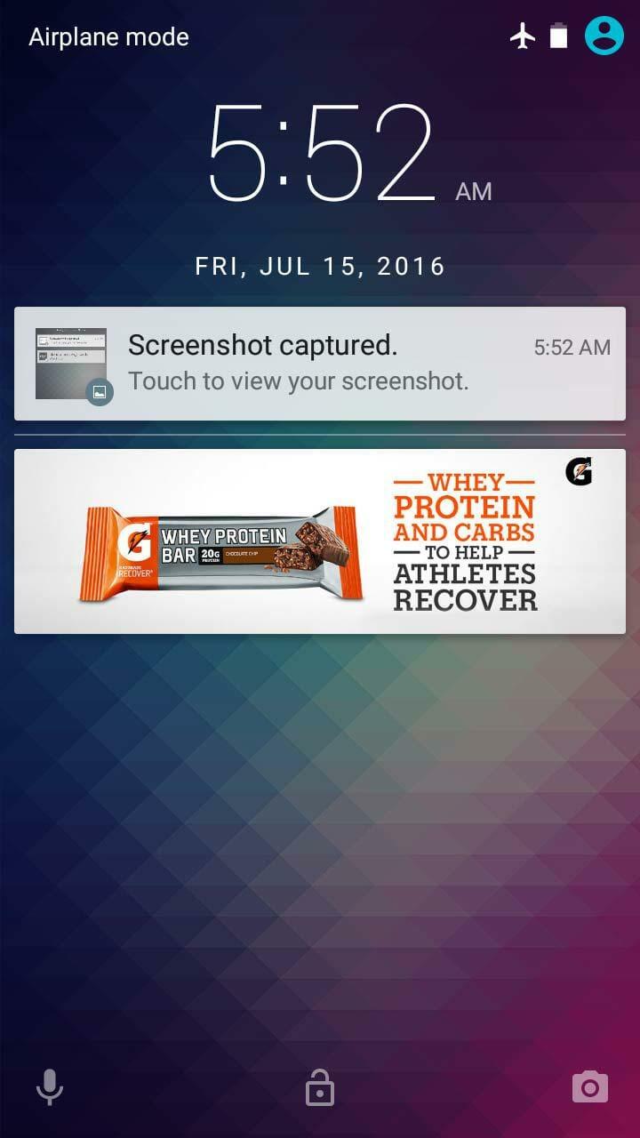 No ads on lockscreen