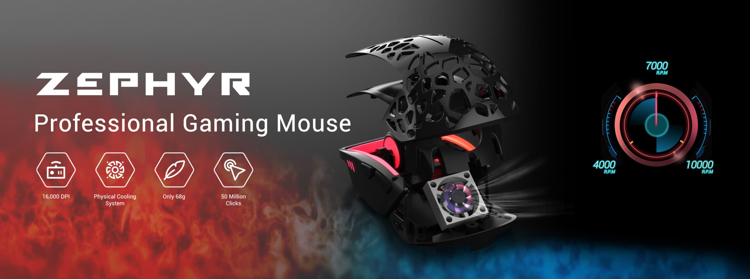 Zephyr Ultra lightweight Gaming Mouse Adjustable Cooling System pic1